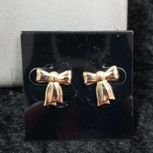 14k vintage gold bow earrings